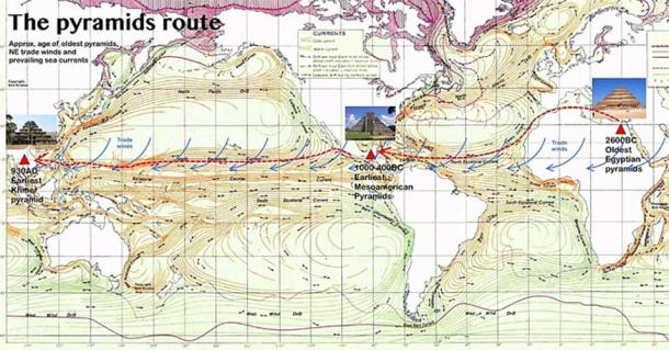 The pyramids route was knowledge of the pyramids spread by ancient ocean currents and sea ice from atlas of world maps united states army service forces gumiabroncs Images