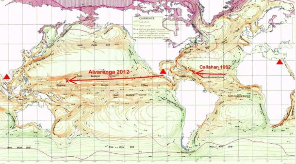 Ocean Currents and Sea Ice from Atlas of World Maps, United States Army Service Forces, Army Specialized Training Division. (Public Domain) Alvarenga and Callahan's Routes