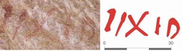 One of the red ochre inscriptions found at the Spanish Roman quarry. (Journal of Roman Archaeology)