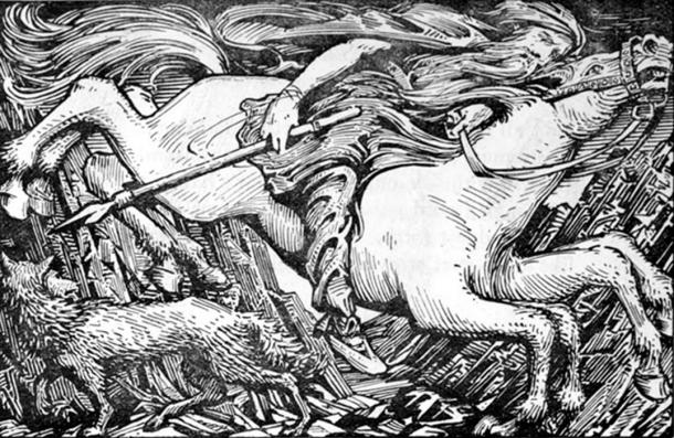 """""""Odin Rides to Hel"""" (1908) by W. G. Collingwood."""