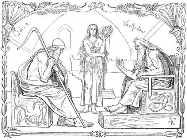 Odin and Vafþrúðnir battle in a game of knowledge by Lorenz Frølich, 1895. (Public Domain)