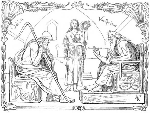 Odin and Vafþrúðnir battle in a game of knowledge by Lorenz Frølich, 1895. (Public Domain)