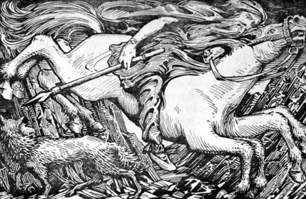 Odin on his eight-legged horse, Sleipnir