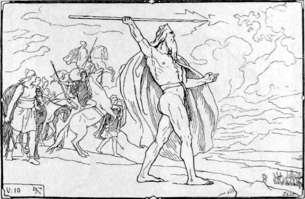 Odin throws a spear at the Vanir host in the Norse Æsir-Vanir war of gods. (Lorenz Frølich / Public domain)
