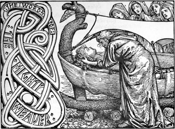 Odin's last words to Baldr by W.G. Collingwood, 1908. (Public Domain)