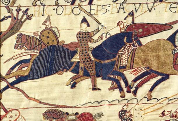 Odo, Bishop of Bayeux battling with a club as depicted on the tapestry.
