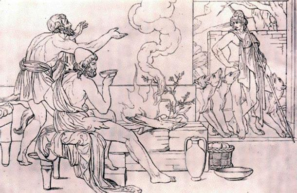 Odysseus sits by the fire as Eumaeus discovers Telemachus at the entrance of his hut. (Public Domain)