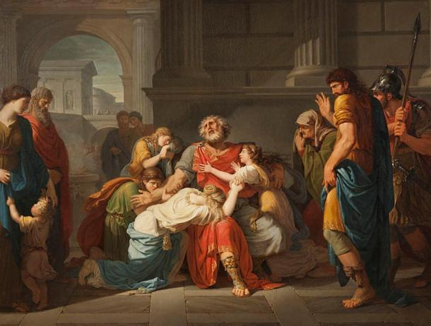 Oedipus Rex is generally considered to be Sophocles' best work. In this oil painting by Bénigne Gagneraux in 1784, the blind Oedipus commends his children to the Gods