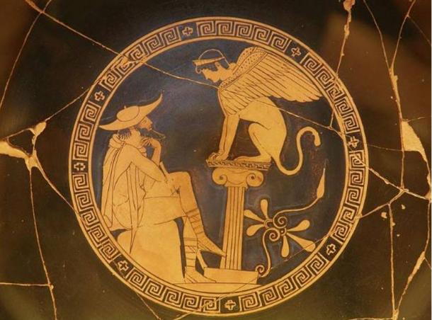 Oedipus and the Sphinx of Thebes, Red Figure Kylix, c. 470 BC, from Vulci, attributed to the Oedipus Painter, Vatican Museums.