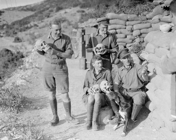 Officers of the 2nd King's Shropshire Light Infantry with skulls excavated during the construction of trenches and dugouts at the ancient Greek site of Amphipolis, 1916.