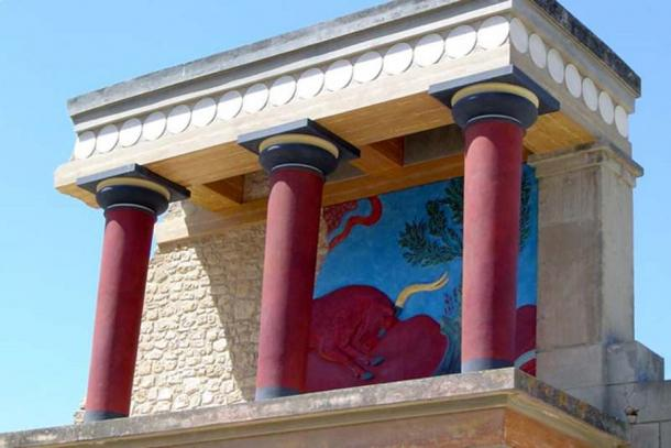 Often criticized reconstructed red 'Minoan' columns at Palace of Knossos