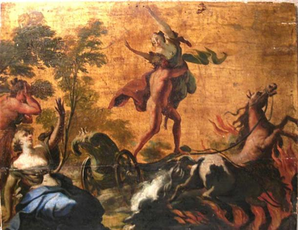Oil painting of Hades abducting Persephone. Oil on wood with gilt background. 18th century.