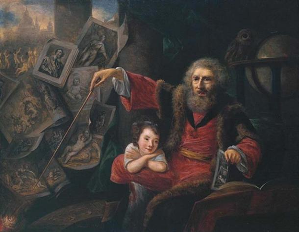 Oil sketch for Hone's satirical painting The Pictorial Conjuror, 1775