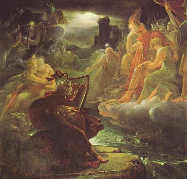 Oisin (Ossian) on the Bank of the Lora, Invoking the Gods to the Strains of a Harp. (1801) François Gérard