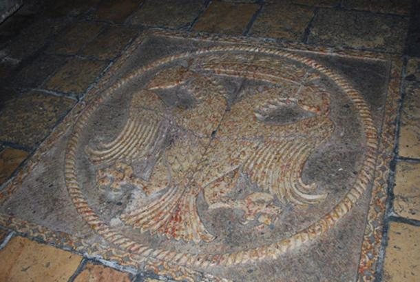 Old Jerusalem, Church of the Holy Sepulchre, Greek Orthodox chapel - Prison of Jesus. On the floor, in front of the chapel, is a mosaic figure of a crowned double headed eagle - symbol of the Byzantine empire and the Greek Orthodox church.