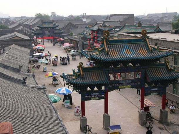 Old city street in Pingyao, Shanxi, China.