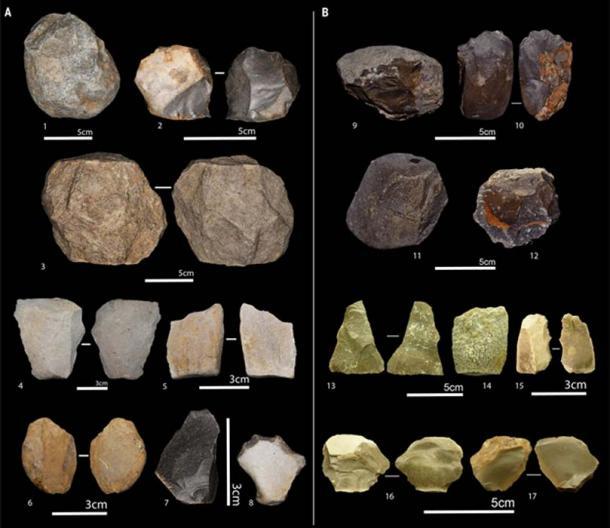 Oldowan artifacts, including unifacial cores on limestone (1 and 9); bifacial core made of limestone (10) and on flint (2); polyhedral cores on limestone (11 and 12); subspherical core on limestone (3); whole flakes on flint (7, 16, and 17) and on limestone (4, 5, 6, 13, and 14); and retouched pieces on flint (8 and 15). (Sahnouni, M. et al.)