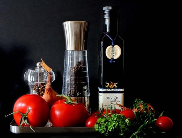 Olive oil is a staple foodstuff of the Mediterranean. (Public Domain)
