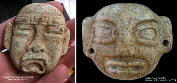 Olmec Style Pendants found in creek near Chinese votive sword.
