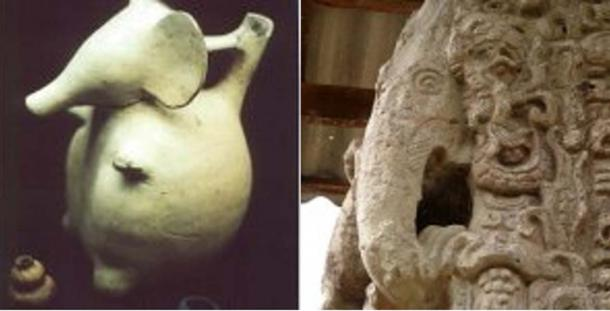 Olmec pottery (left) – Credit: Zecharia Sitchin. Mayan sculpture (right) – Credit: Robin Heyworth (Author provided)