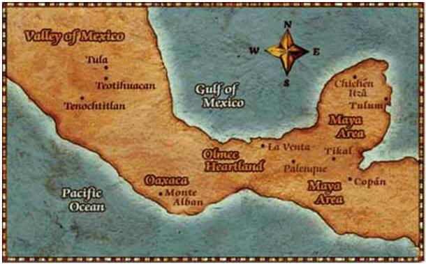 The Olmecs inhabited the south coast of the Gulf of Mexico.