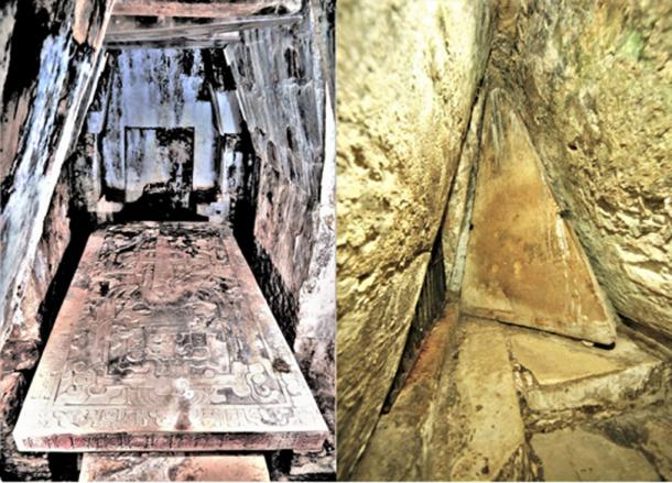 On Left - The crypt of Pakal. On Right – The crypt door. (© georgefery.com / Author Supplied)