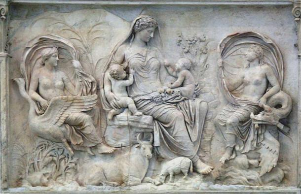 On the eastern side of Ara Pacis is a relief of Tellus Mater, the Roman earth-goddess. (Chris Nas/CC BY SA 4.0) Tellus is the Roman version of Gaea.