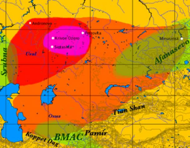 On this map; the formative Sintashta-Petrovka culture is shown in red; the maximum extent of the Andronovo culture is in orange; the location of the earliest spoke-wheeled chariot finds is indicated in magenta. Afanasevo culture and Srubna cultures overlap and are shown in olive green. (Dbachmann / CC BY-SA 3.0)