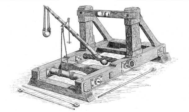 """Onager with sling from Ralph Payne-Gallwey's book """"The Projectile Throwing Engines of the Ancients"""" (1907). (Public Domain)"""