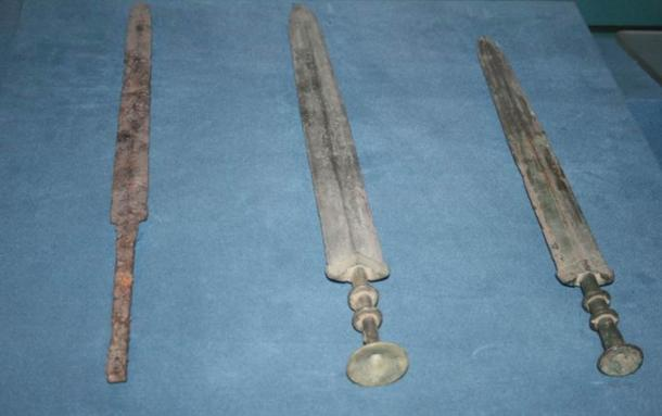 One iron and two bronze Jian swords from the Chinese Warring states period