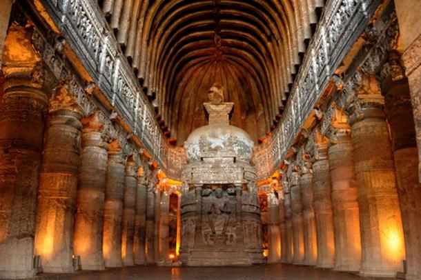 One of the magnificent sculpted caves at Ajanta. (Image: C. Shelare/ CC BY SA 3.0)