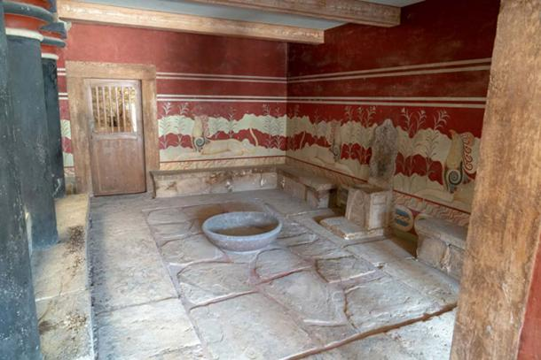 One of the more impressive restored rooms in Knossos palace. Credit: Ioannis Syrigos