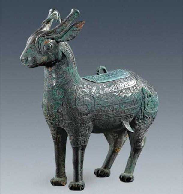 One of the more novel finds was this deer shaped wine holder, illustrating high level of Chinese skills in Bronze Age metalworking.