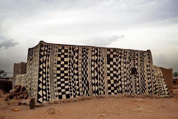 One of the painted buildings in Tiébélé, Burkina Faso.