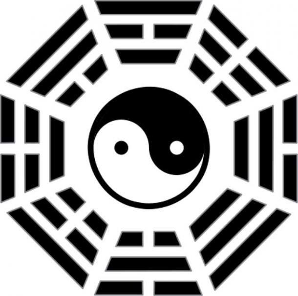 One of the symbols of the I Ching, trigrams with broken and unbroken lines.