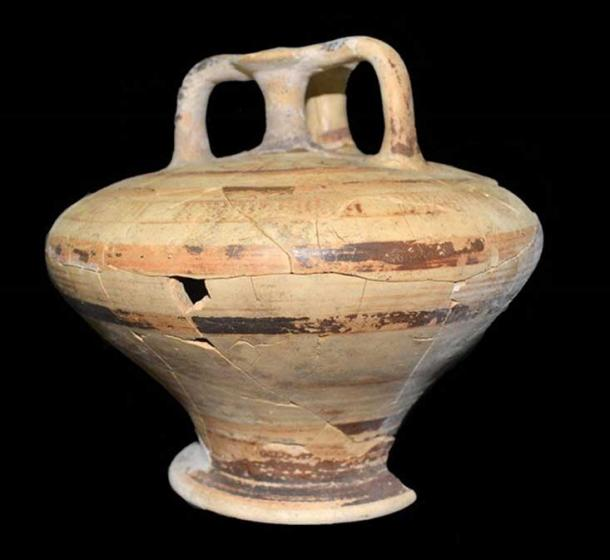 One of the two decorated stirrup jars found in the Mycenaean-era tomb.