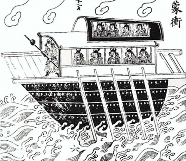One type of ship used in the battle - the mengchong leather-covered assault warship designed to break enemy lines.