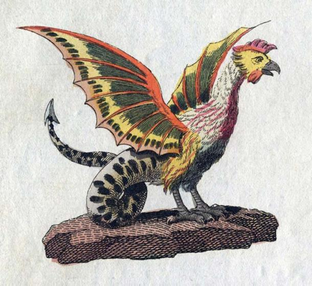 One variation of the basilisk's appearance includes the head, wings, and legs of a rooster. (Public Domain)