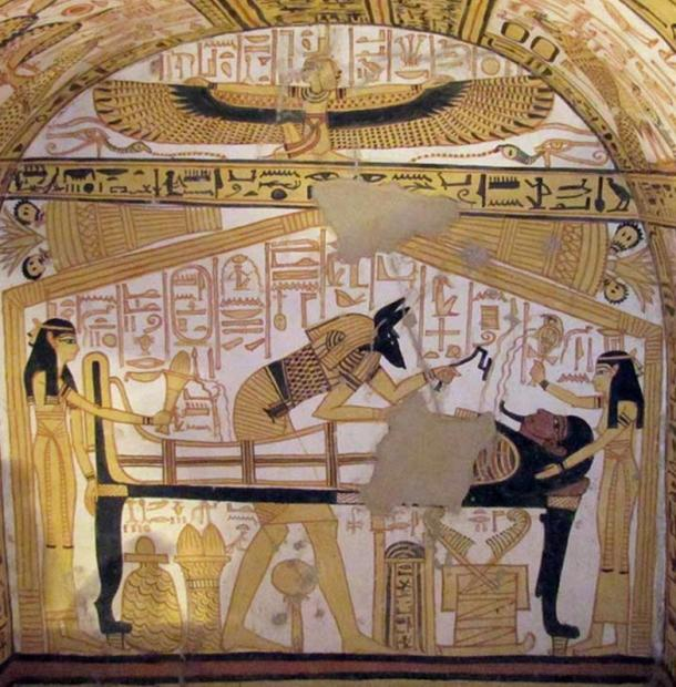 Opening of the mouth ceremony depicted in Theban Tomb 335