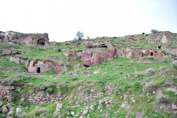 Openings to Belağası Underground City in Gesi district, Kayseri Province, Turkey.