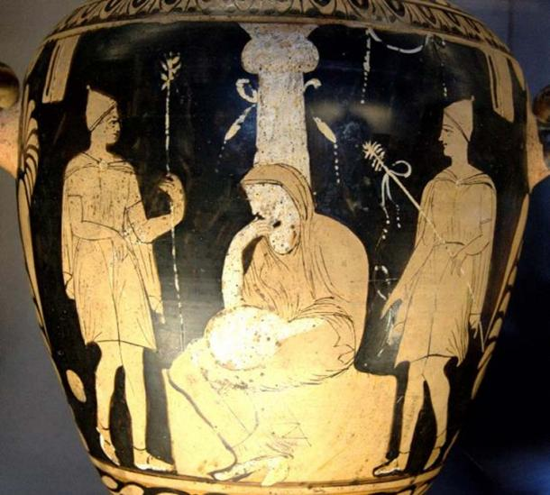 Orestes, Pylades and Electre at the tomb of Agamemnon. Campanian red-figure hydria, ca. 330 BC. (Public Domain)