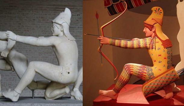 """Right: Original Trojan archer (so called """"Paris""""), figure W-XI of the west pediment of the Temple of Aphaia, ca. 505–500 BC.(Public Domain). Right: Polychrome reconstitution from the exhibition Bunte Götter."""