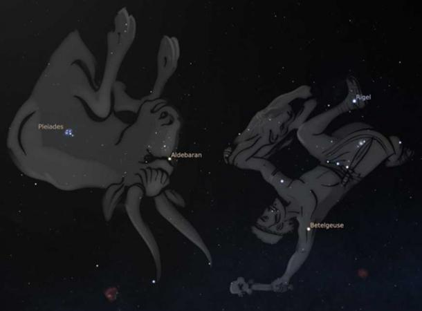 Orion (right) fights Taurus the bull (middle) while pursuing the seven sisters of the Pleiades (left), as seen from Australia. Stellarium