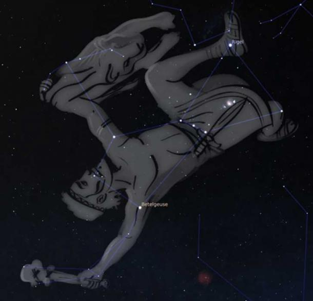 Orion dominates the evening skies during summer in the Southern Hemisphere and appears upside-down to us in Australia. Stellarium