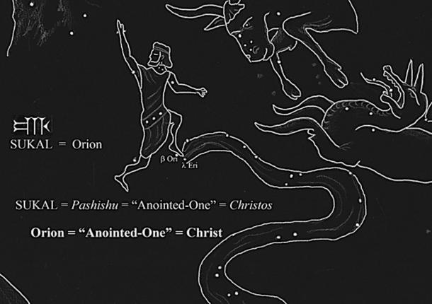 "Orion's cuneiform epithet, SUKAL, rendered ""Anointed-One"", the cuneiform equivalent to the Greek Christos. (sketch: Ashely McCurdy)"