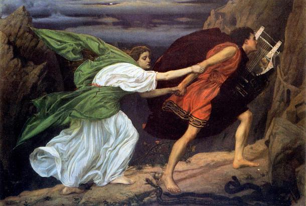 Orpheus leading Eurydice out of the underworld after having played his lyre for Cerberus. Painting by Edward Poytner, 1862.