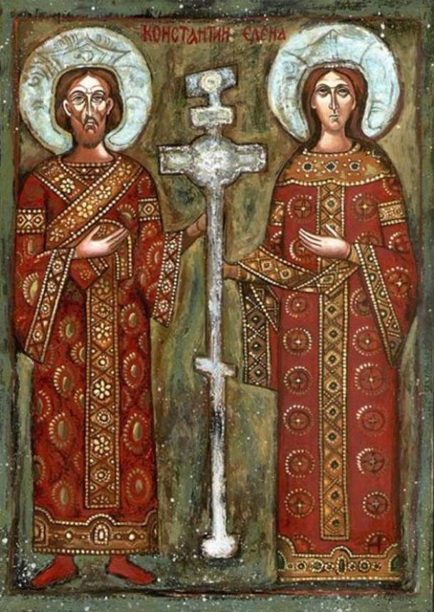 Orthodox Bulgarian icon of Constantine and his mother, St. Helena.