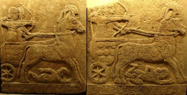 Orthostat relief in basalt; battle chariot, Carchemish