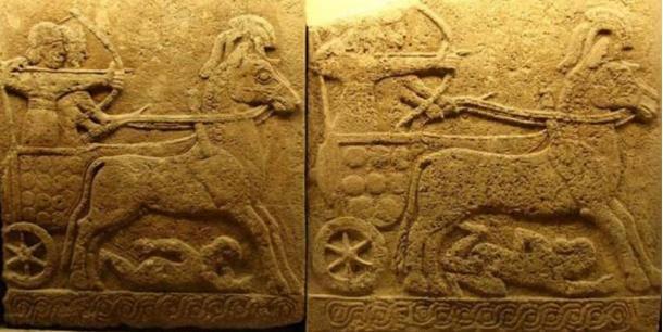 Orthostat relief in basalt; battle chariot, Carchemish, 9th century BC; Late Hittite style with Assyrian influence.