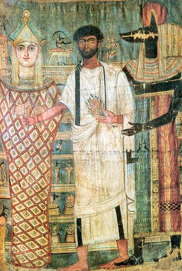 Shroud from the time of the Ptolemaic dynasty showing Osiris and Anubis with a deceased man